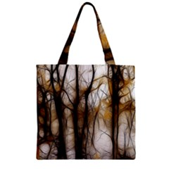 Fall Forest Artistic Background Zipper Grocery Tote Bag