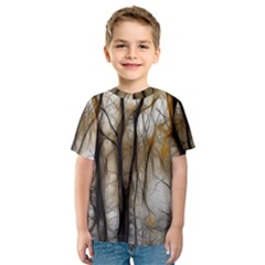 Fall Forest Artistic Background Kids  Sport Mesh Tee