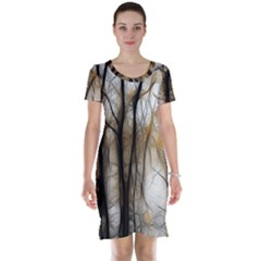 Fall Forest Artistic Background Short Sleeve Nightdress