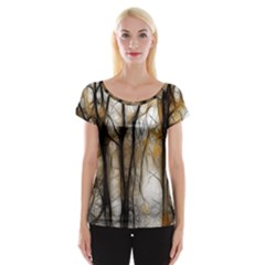 Fall Forest Artistic Background Women s Cap Sleeve Top