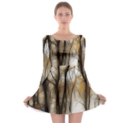 Fall Forest Artistic Background Long Sleeve Skater Dress