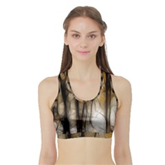 Fall Forest Artistic Background Sports Bra with Border