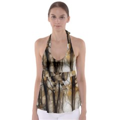 Fall Forest Artistic Background Babydoll Tankini Top