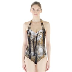 Fall Forest Artistic Background Halter Swimsuit