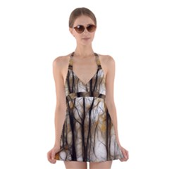 Fall Forest Artistic Background Halter Swimsuit Dress