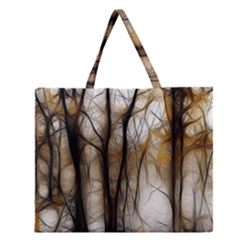 Fall Forest Artistic Background Zipper Large Tote Bag