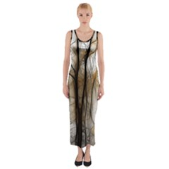 Fall Forest Artistic Background Fitted Maxi Dress