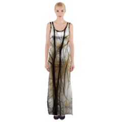Fall Forest Artistic Background Maxi Thigh Split Dress