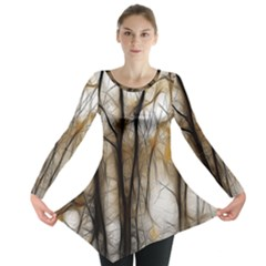 Fall Forest Artistic Background Long Sleeve Tunic