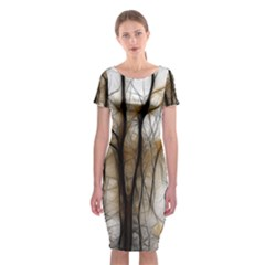 Fall Forest Artistic Background Classic Short Sleeve Midi Dress