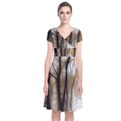 Fall Forest Artistic Background Short Sleeve Front Wrap Dress