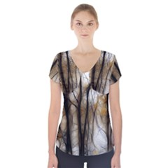 Fall Forest Artistic Background Short Sleeve Front Detail Top