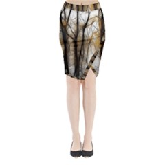 Fall Forest Artistic Background Midi Wrap Pencil Skirt