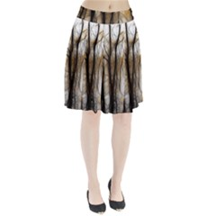 Fall Forest Artistic Background Pleated Skirt