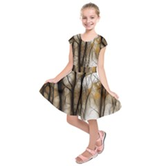 Fall Forest Artistic Background Kids  Short Sleeve Dress