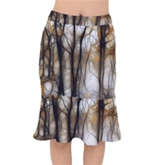 Fall Forest Artistic Background Mermaid Skirt