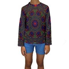 Rainbow Kaleidoscope Kids  Long Sleeve Swimwear