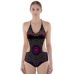 Rainbow Kaleidoscope Cut Out One Piece Swimsuit