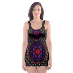 Rainbow Kaleidoscope Skater Dress Swimsuit