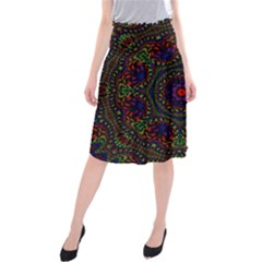 Rainbow Kaleidoscope Midi Beach Skirt