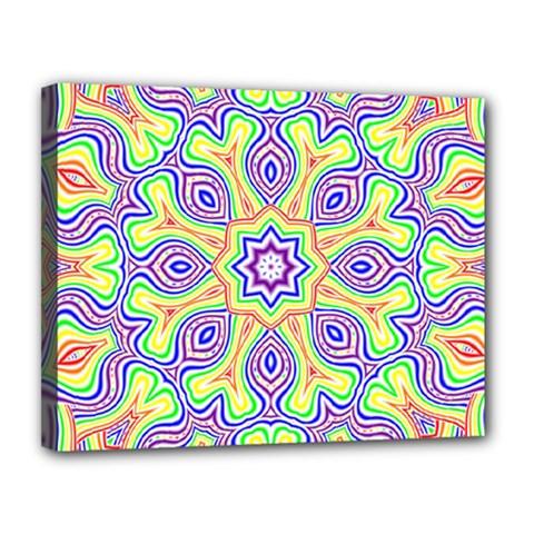 Rainbow Kaleidoscope Canvas 14  X 11
