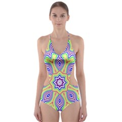 Rainbow Kaleidoscope Cut-Out One Piece Swimsuit