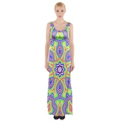 Rainbow Kaleidoscope Maxi Thigh Split Dress