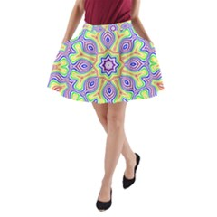 Rainbow Kaleidoscope A-Line Pocket Skirt
