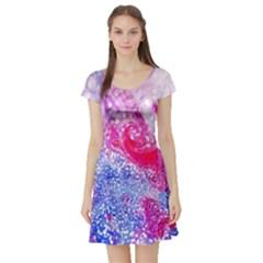 Glitter Pattern Background Short Sleeve Skater Dress
