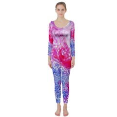 Glitter Pattern Background Long Sleeve Catsuit