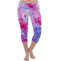 Glitter Pattern Background Capri Yoga Leggings