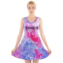 Glitter Pattern Background V Neck Sleeveless Skater Dress