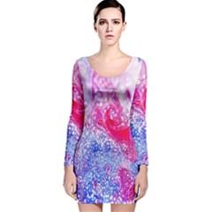 Glitter Pattern Background Long Sleeve Velvet Bodycon Dress