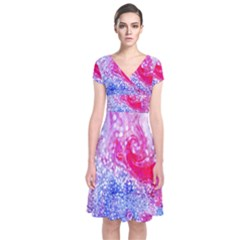Glitter Pattern Background Short Sleeve Front Wrap Dress