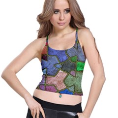 Background With Color Kindergarten Tiles Spaghetti Strap Bra Top