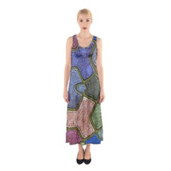 Background With Color Kindergarten Tiles Sleeveless Maxi Dress