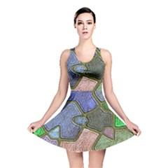 Background With Color Kindergarten Tiles Reversible Skater Dress