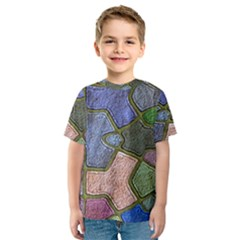 Background With Color Kindergarten Tiles Kids  Sport Mesh Tee