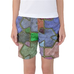 Background With Color Kindergarten Tiles Women s Basketball Shorts