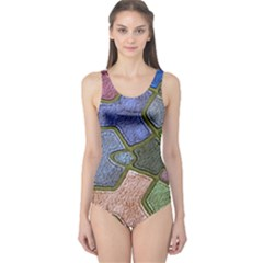 Background With Color Kindergarten Tiles One Piece Swimsuit