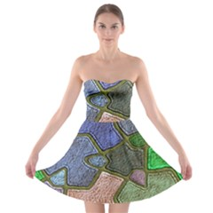 Background With Color Kindergarten Tiles Strapless Bra Top Dress
