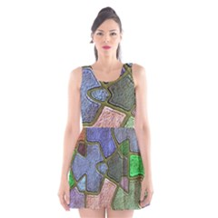 Background With Color Kindergarten Tiles Scoop Neck Skater Dress