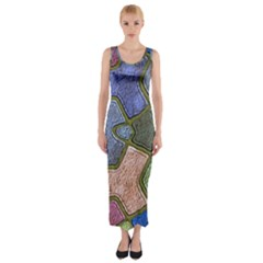 Background With Color Kindergarten Tiles Fitted Maxi Dress