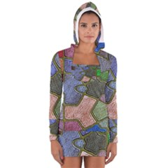 Background With Color Kindergarten Tiles Women s Long Sleeve Hooded T-shirt
