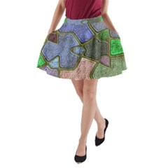 Background With Color Kindergarten Tiles A-Line Pocket Skirt