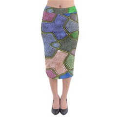 Background With Color Kindergarten Tiles Midi Pencil Skirt