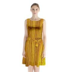 Light Doodle Pattern Background Wallpaper Sleeveless Chiffon Waist Tie Dress
