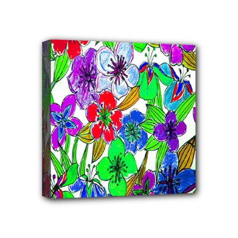 Background Of Hand Drawn Flowers With Green Hues Mini Canvas 4  x 4