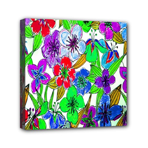 Background Of Hand Drawn Flowers With Green Hues Mini Canvas 6  x 6