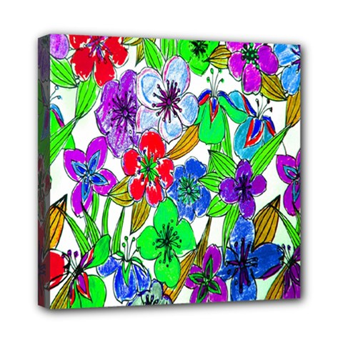 Background Of Hand Drawn Flowers With Green Hues Mini Canvas 8  x 8